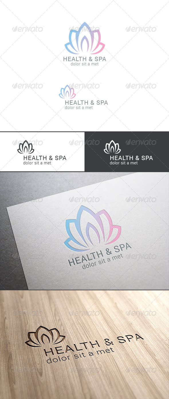 Spa Lotus Flower Logo Abstract