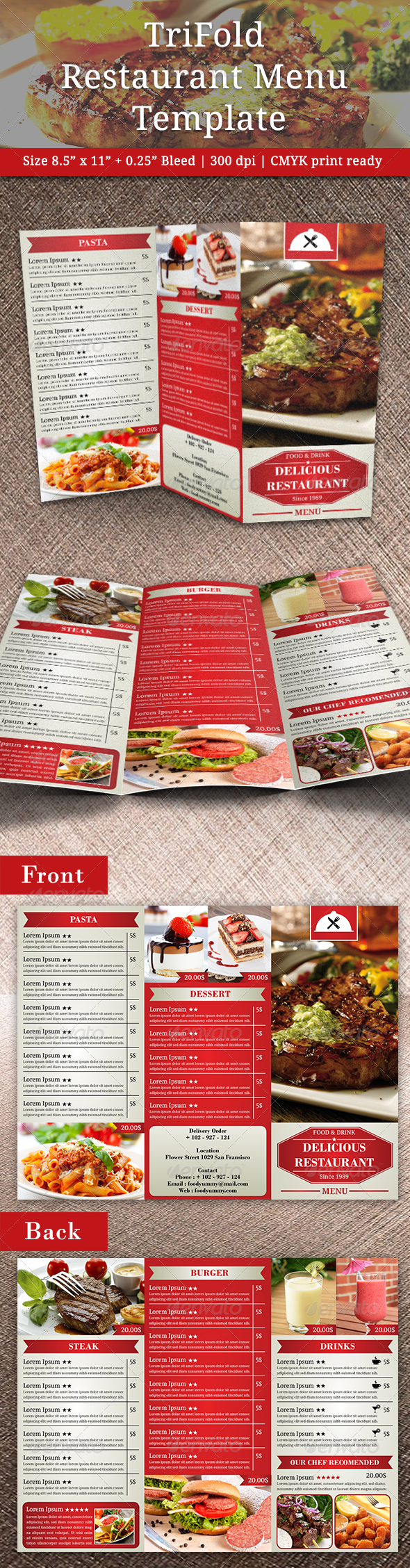 TriFold Restaurant Menu Template Vol 2