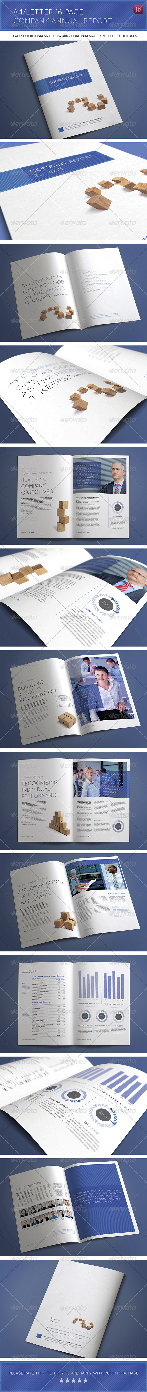 A4 Letter 16 Page Company Annual Report