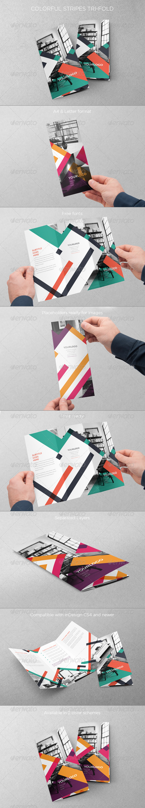 GraphicRiver Colorful Stripes Trifold 8041095