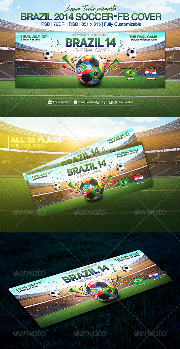GraphicRiver Brazil 14 Soccer Tournament Facebook Cover 8041101