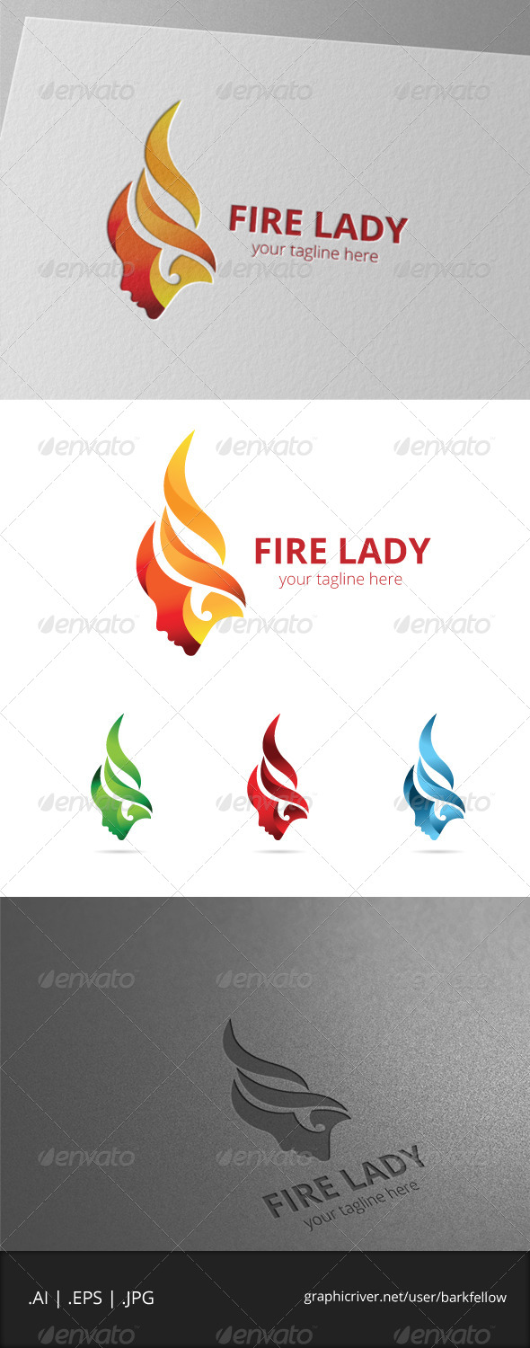 GraphicRiver Fire Hair Woman Logo 8041223