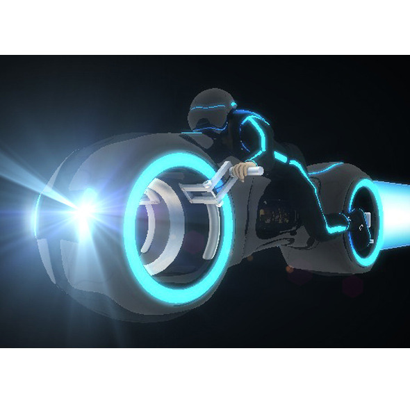 Tron light cycle with rider & trail - animated 3d model - 3DOcean Item for Sale