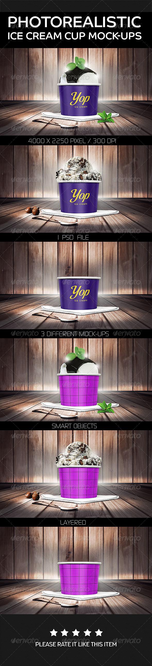 GraphicRiver Photorealistic Ice Cream Cup Mock-Ups 8021718