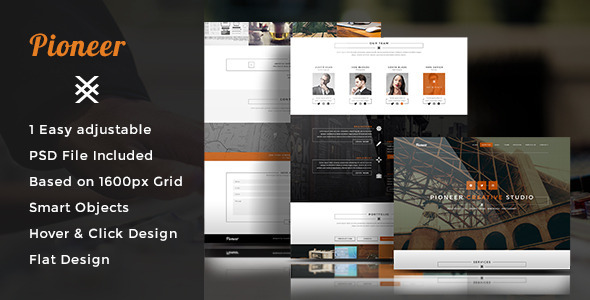 Pioneer - One Page PSD Template - Creative PSD Templates