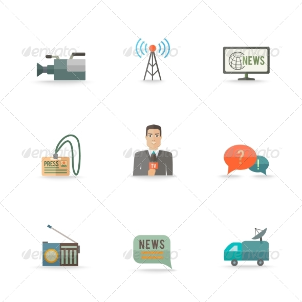 GraphicRiver Journalist Reporter Icons Set 8041894