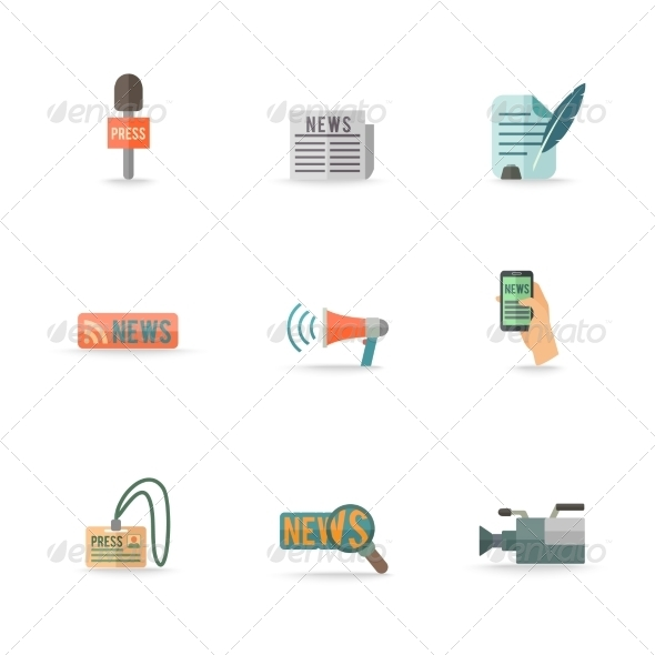 GraphicRiver Journalist Reporter Icons Set 8041896