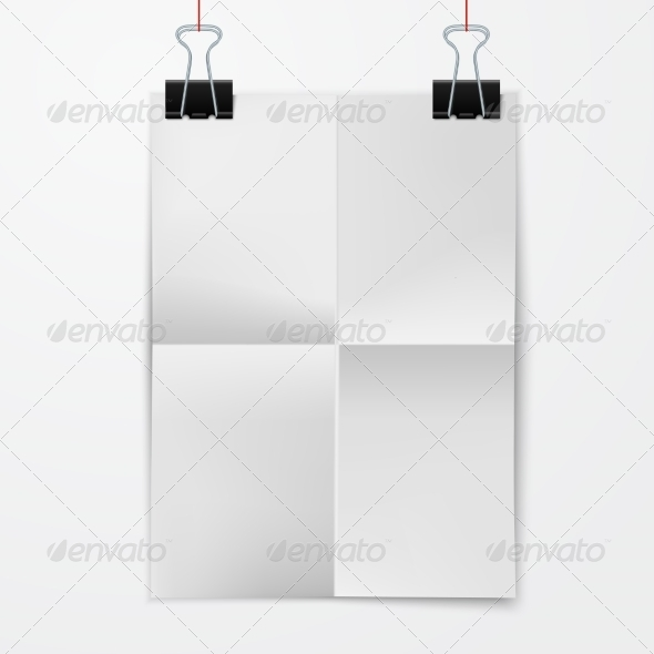 GraphicRiver Folded Paper Sheet with Binder Clip 8041899