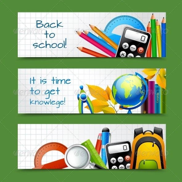 GraphicRiver School Paper Banners 8041929