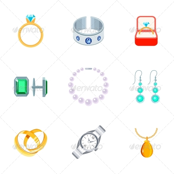 GraphicRiver Jewelry Icons Flat 8041936