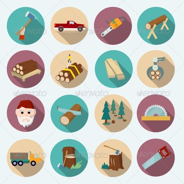 GraphicRiver Lumberjack Woodcutter Icons 8041949