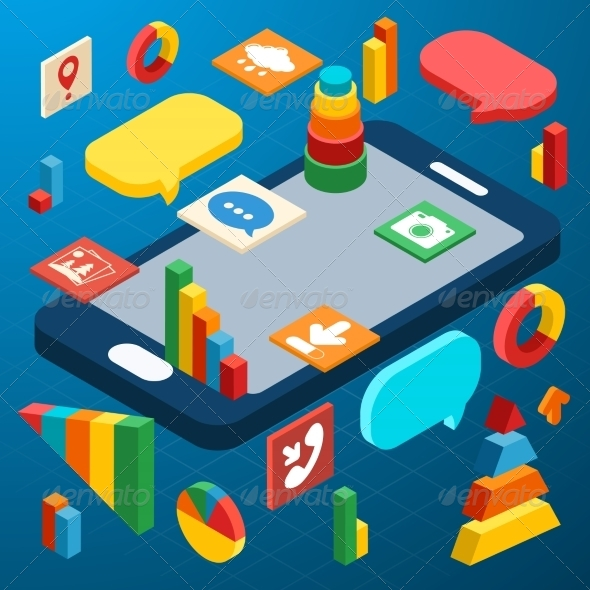 GraphicRiver Isometric Smartphone Infographic 8042006