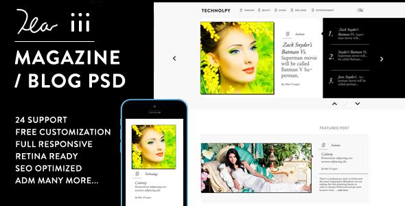 ThemeForest Dear Three Creative Magazine Blog PSD Design 8042015