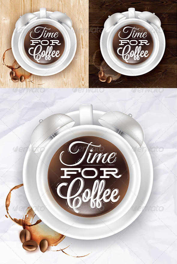 GraphicRiver Coffee Cup Alarm Clock Poster 8039479