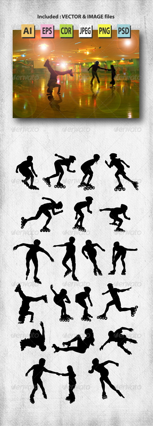 GraphicRiver Roller Skate Silhouettes 8042356