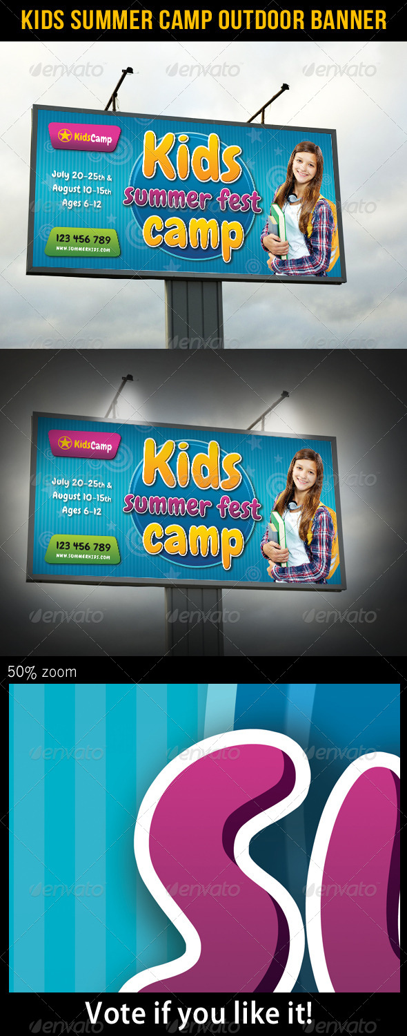 GraphicRiver Kids Summer Camp Outdoor Banner 02 8042367