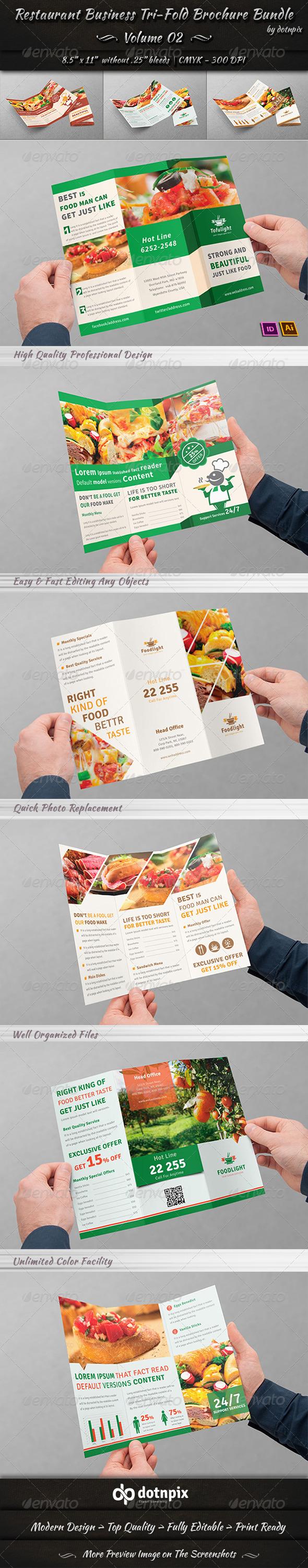 GraphicRiver Restaurant Tri-fold Brochure Bundle Volume 2 8037070