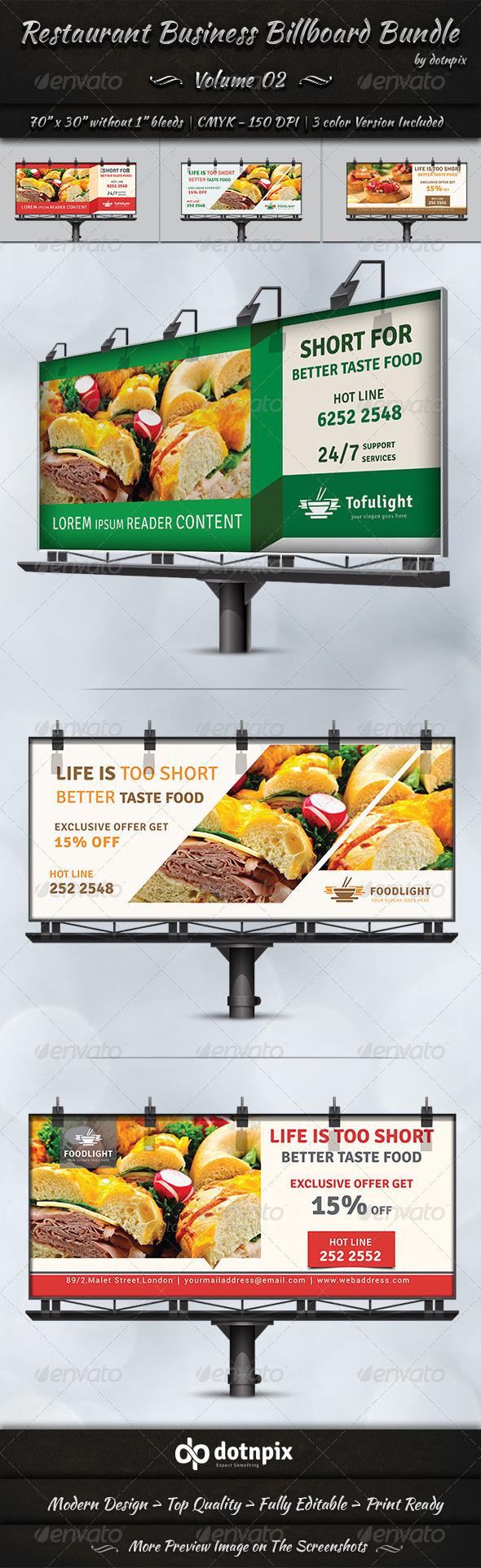 GraphicRiver Restaurant Business Billboard Bundle Volume 2 8037436