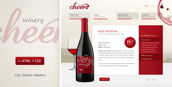 ThemeForest Cheers Premium and Modern Website for Winery 821000