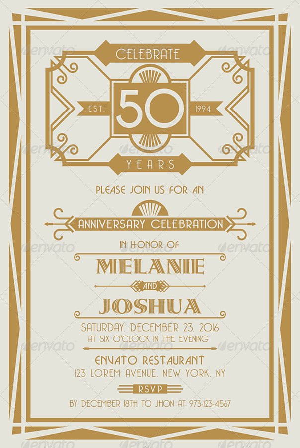 Art deco style wedding anniversary cards v by equipo