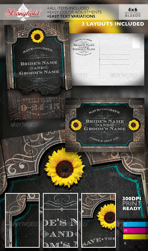 GraphicRiver Western Save The Date Wedding Flyer Template 8043676