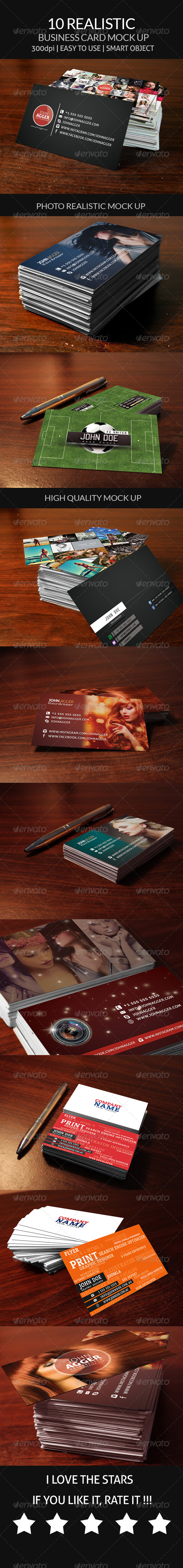 10 Realistic Business Card Mock Up