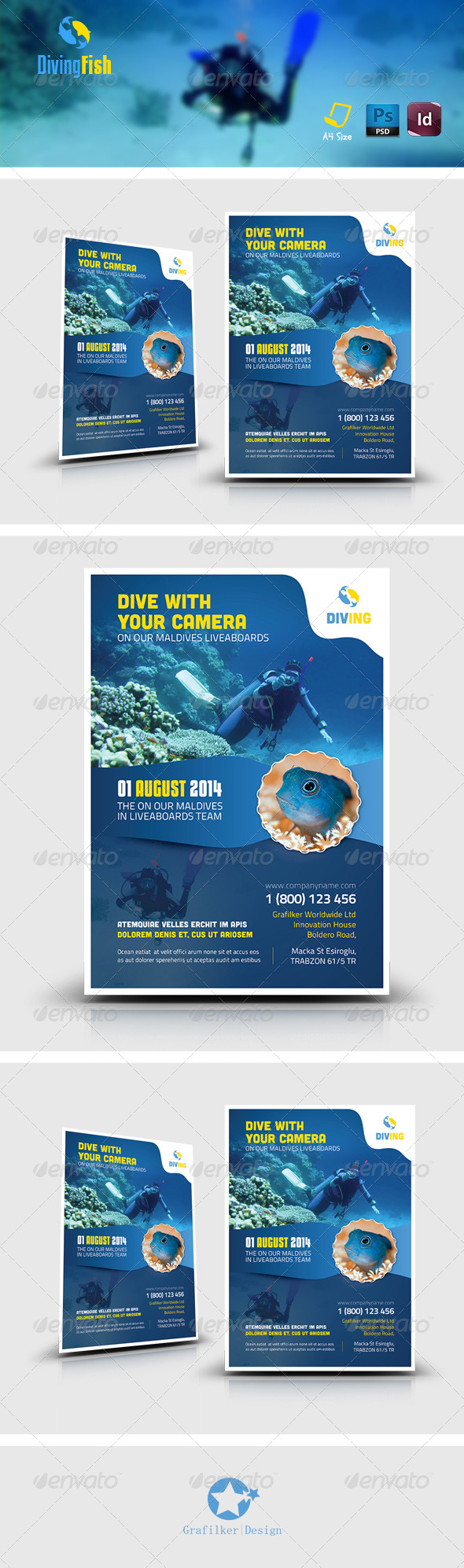 GraphicRiver Ocean Diving Flyer Templates 8043886