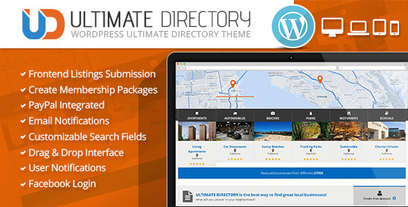 Ultimate Directory Responsive WordPress Theme - Directory & Listings Corporate