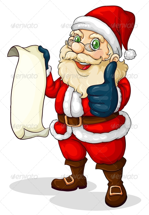 Santa Holding an Empty List for Christmas