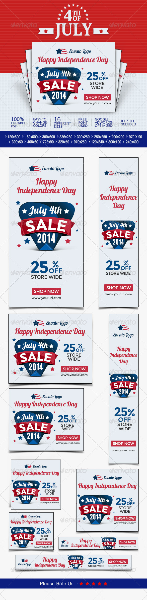GraphicRiver July 4th Sale Banners 8044406