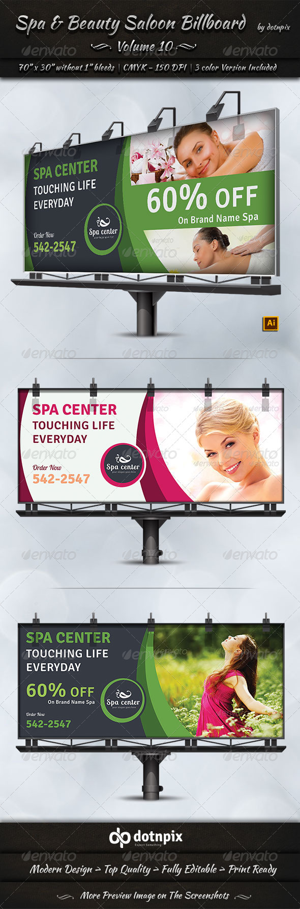 GraphicRiver Spa & Beauty Saloon Billboard Template Volume 10 8044739