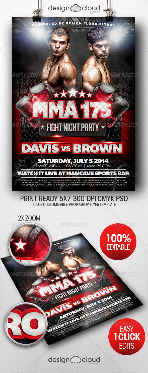 GraphicRiver MMA Fight Night Party Flyer Template 8044785