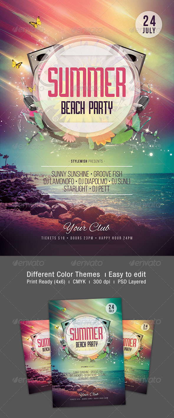 GraphicRiver Summer Beach Party Flyer 8040790