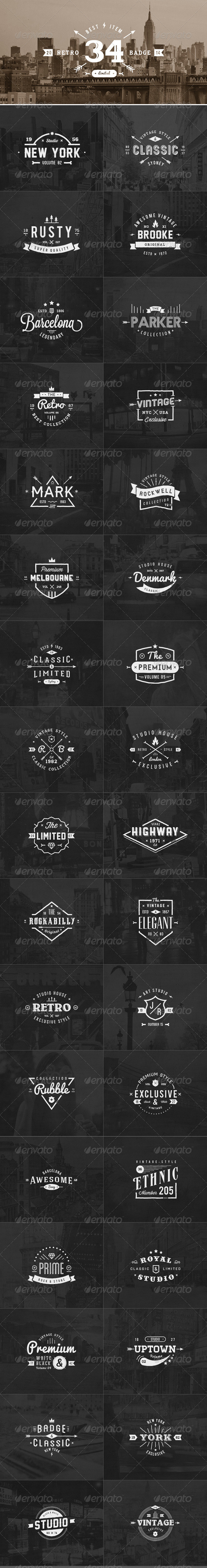GraphicRiver 34 Retro Labels Badges 8045476