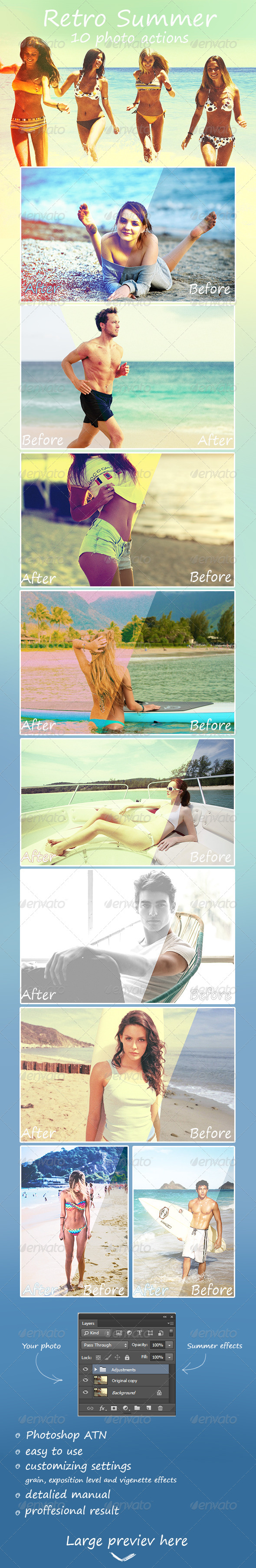 GraphicRiver Retro Summer 10 Photo Actions 8045484