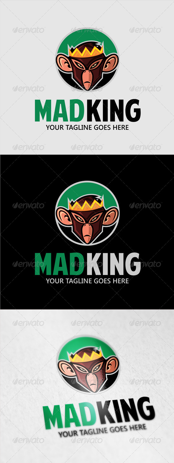 GraphicRiver Mad King Monkey Logo 8045930