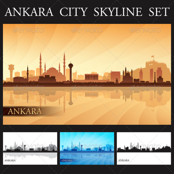 GraphicRiver Ankara City Skyline Silhouettes Set 8046150