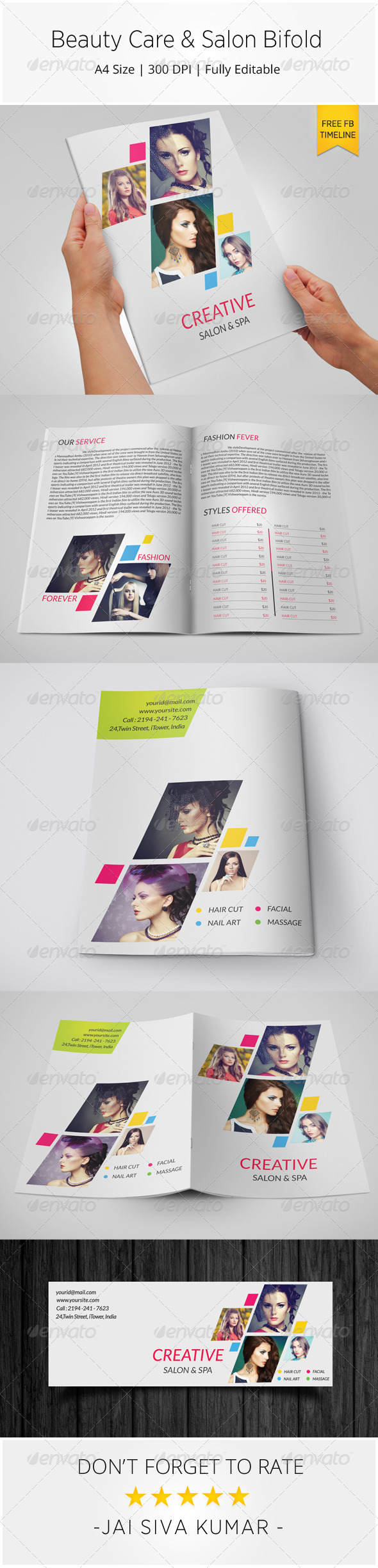 GraphicRiver Beauty Care & Salon Bi-fold Brochure Template 8046470