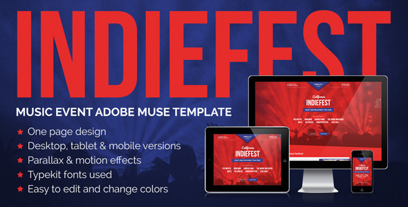 ThemeForest IndieFest Music Event Promo Muse Template 8046495