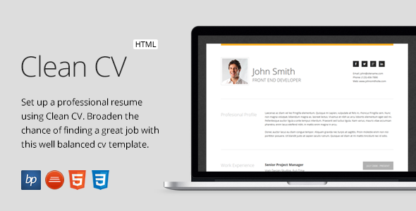 Clean CV Responsive Resume Template 4 Bonuses by bitpub – Web Resume Template