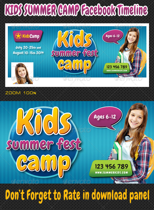 GraphicRiver Kids Summer Camp Facebook Timeline 8047002