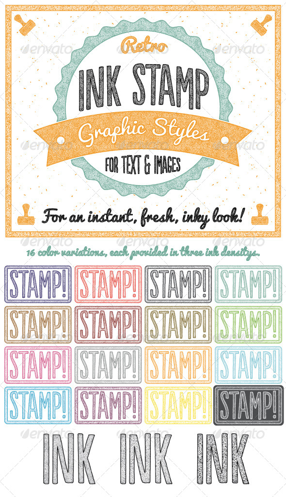 GraphicRiver Retro Ink Stamp Graphic Styles 8047042