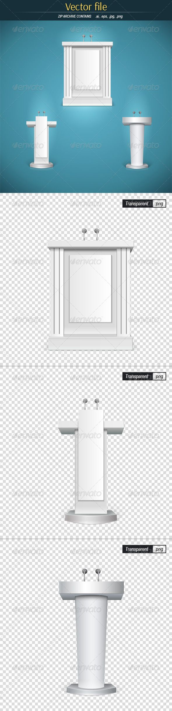 GraphicRiver White Tribunes with Microphone 8047457