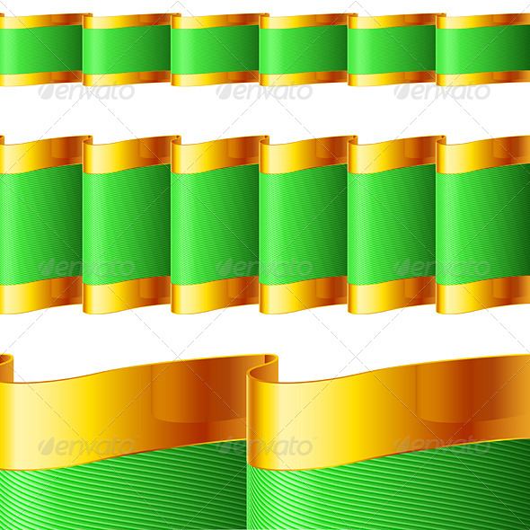 GraphicRiver Green Ribbons with Gold Edging 8047529
