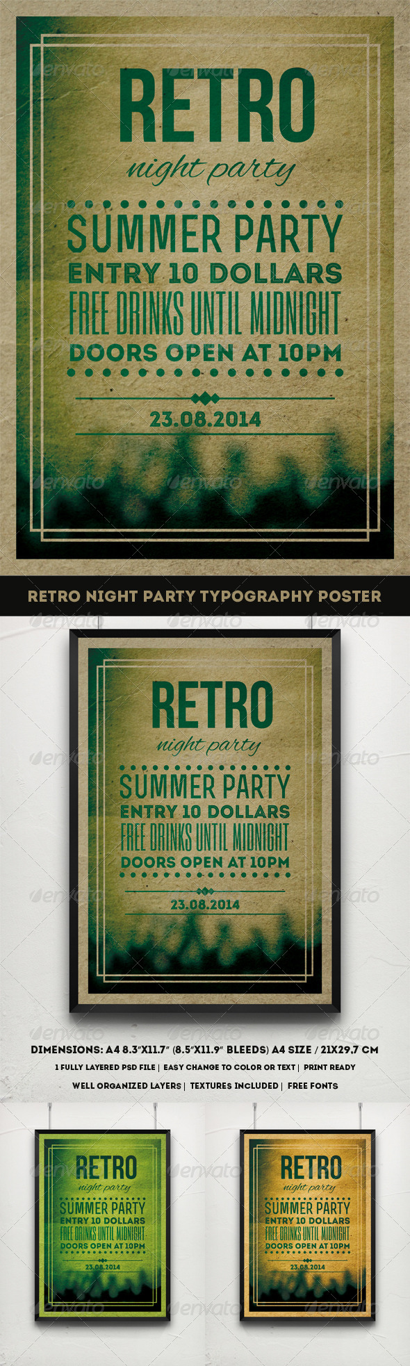 GraphicRiver Retro Night Party Typography Poster 8047667