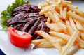 steak beef meat with tomato and french fries - PhotoDune Item for Sale