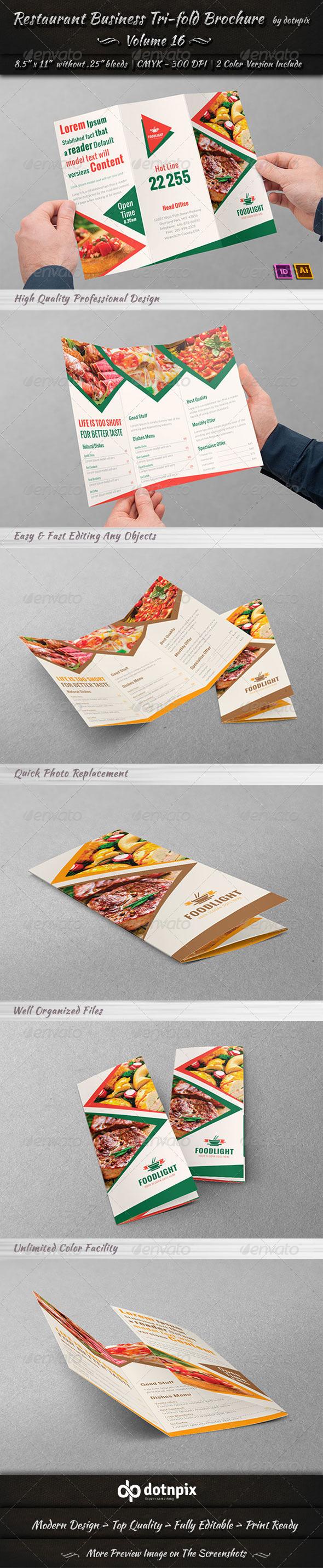 GraphicRiver Restaurant Business Tri-Fold Brochure Volume 16 8047766