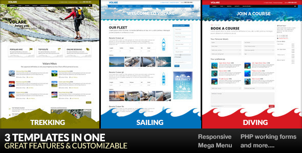 Volare - Trekking, Sailing, Diving Template - Corporate Site Templates