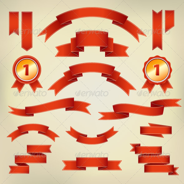 GraphicRiver Vector Red Ribbons and Labels 8047911