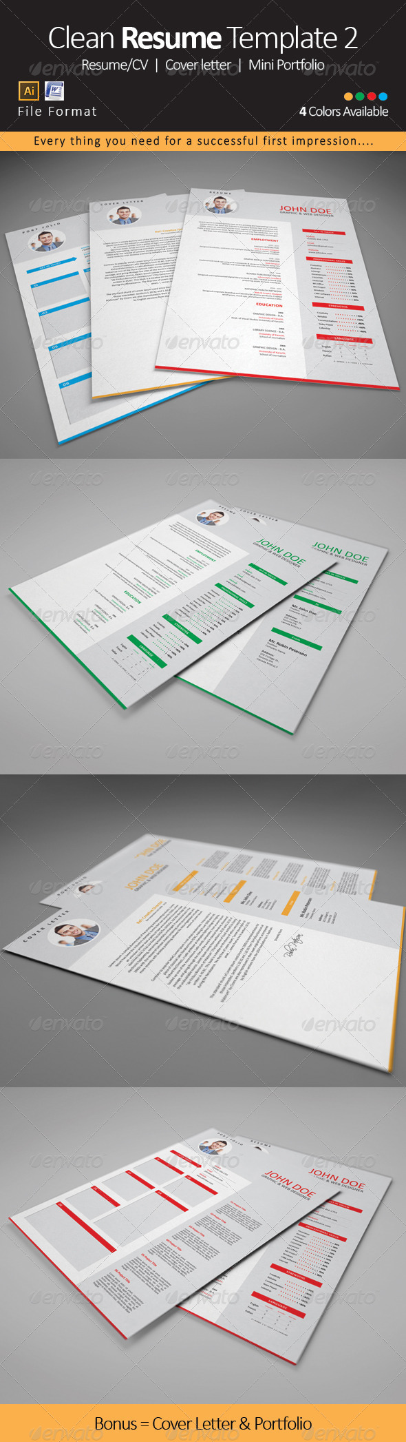 GraphicRiver Clean Resume CV Template 2 8048106